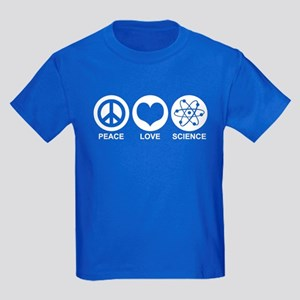 Peace Love Science Kids Dark T-Shirt
